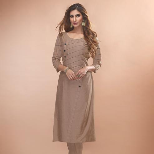Charming Light Brown Colored Partywear Embroidered Viscose Kurti