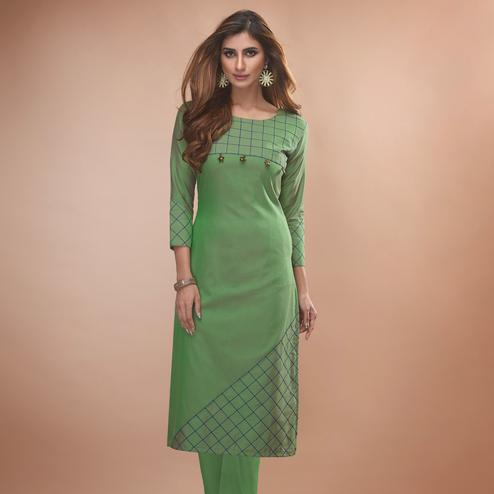 Jazzy Green Colored Partywear Embroidered Viscose Kurti