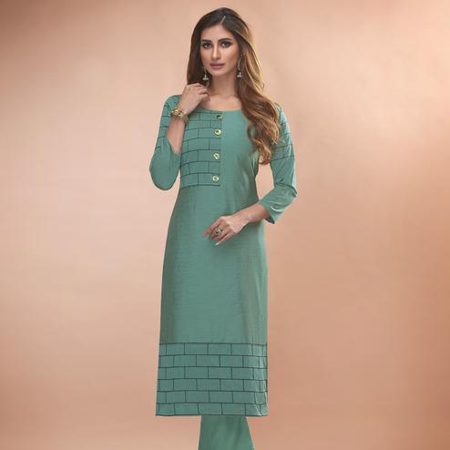 Delightful Blueish Grey Colored Partywear Embroidered Viscose Kurti