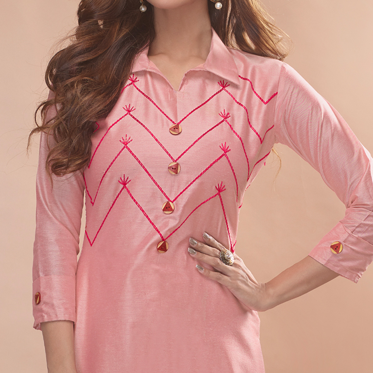 Captivating Pink Colored Partywear Embroidered Viscose Kurti