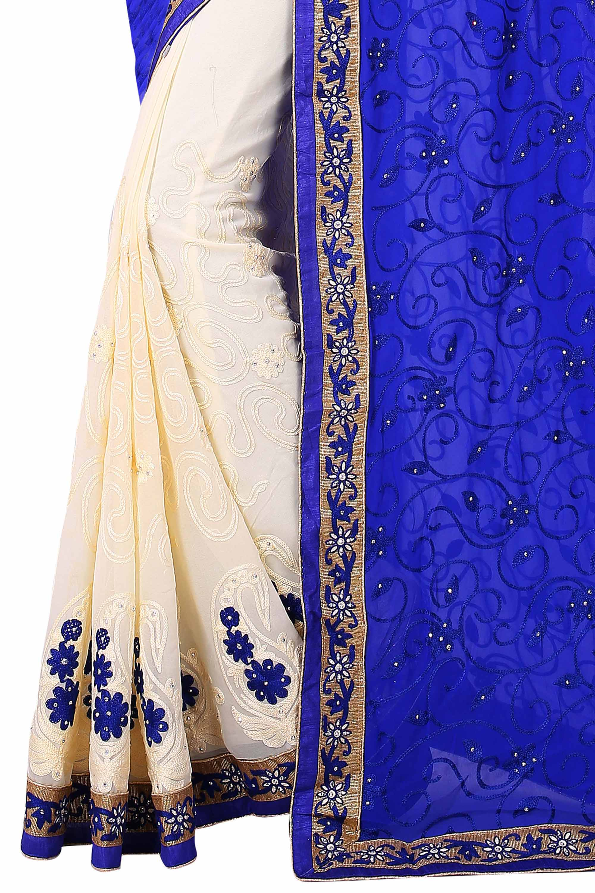 Cream - Blue Georgette Half Saree