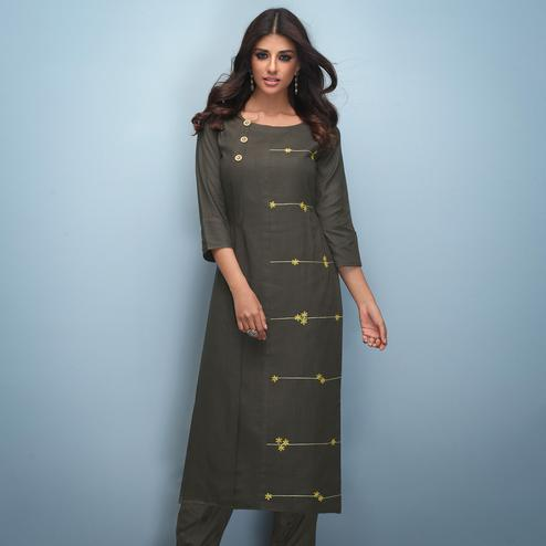 Unique Brown Colored Partywear Embroidered Rayon Kurti