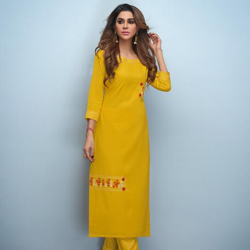 Demanding Yellow Colored Partywear Embroidered Rayon Kurti
