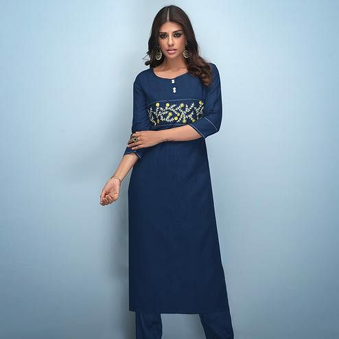 Refreshing Navy Blue Colored Partywear Embroidered Rayon Kurti