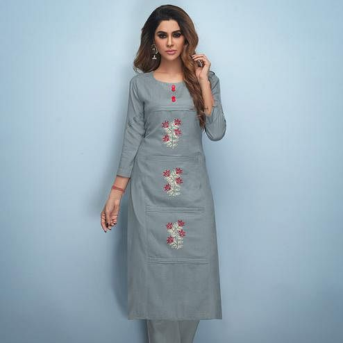 Magnetic Grey Colored Partywear Embroidered Rayon Kurti