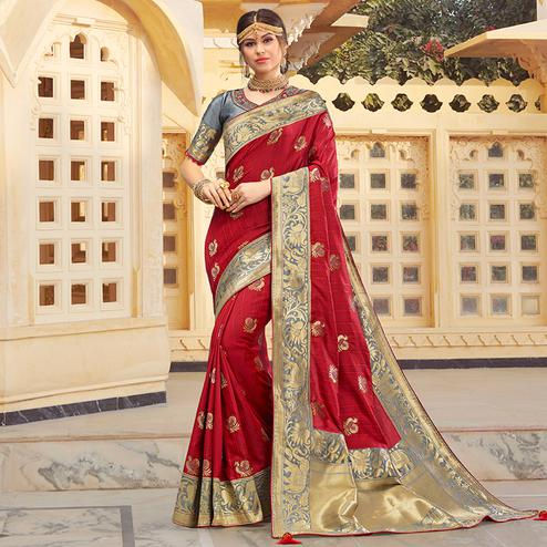 Charming Red Colored Festive Wear Woven Silk Saree