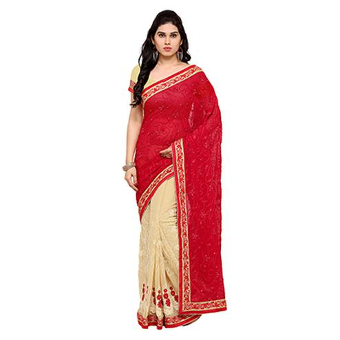 Cream - Red Half & Half Saree
