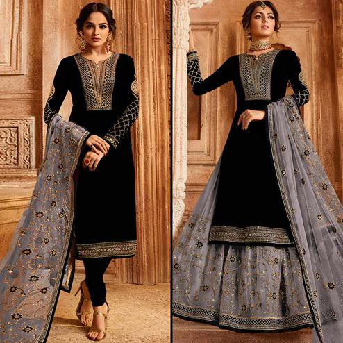 Impressive Black Colored Partywear Embroidered Satin-Georgette Dual Bottom Suit
