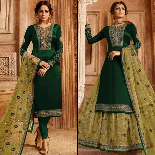 Mesmerising Green Colored Partywear Embroidered Satin-Georgette Dual Bottom Suit