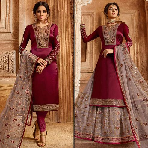 Pleasance Maroon Colored Partywear Embroidered Satin-Georgette Dual Bottom Suit