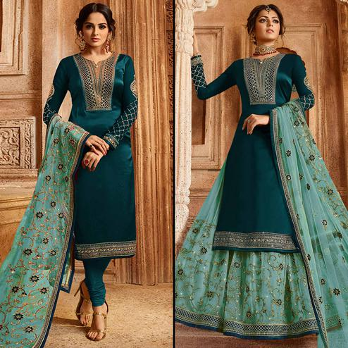 Breathtaking Rama Green Colored Partywear Embroidered Satin-Georgette Dual Bottom Suit