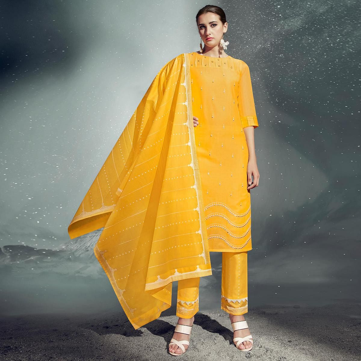 Gorgeous Yellow Colored Partywear Embroidered Cotton Kurti-Pant Set With Dupatta