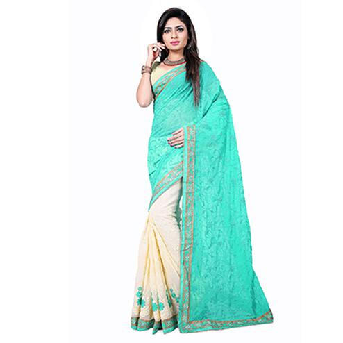 Cream - Sky Blue Embroidered Half Saree
