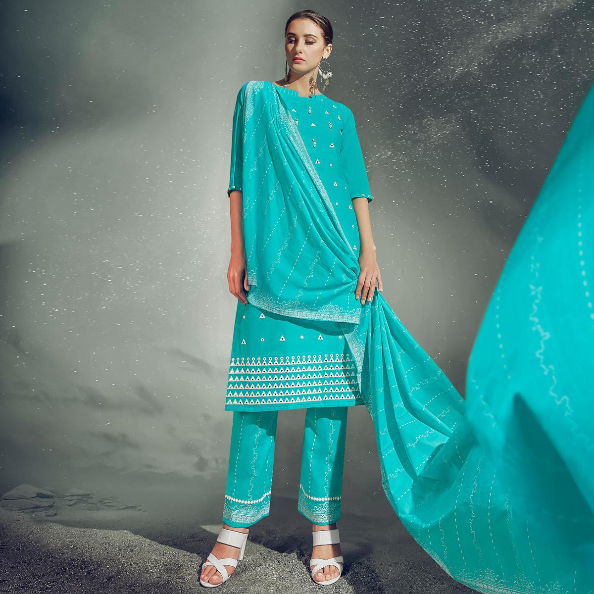 Blissful Aqua Blue Colored Partywear Embroidered Cotton Kurti-Pant Set With Dupatta