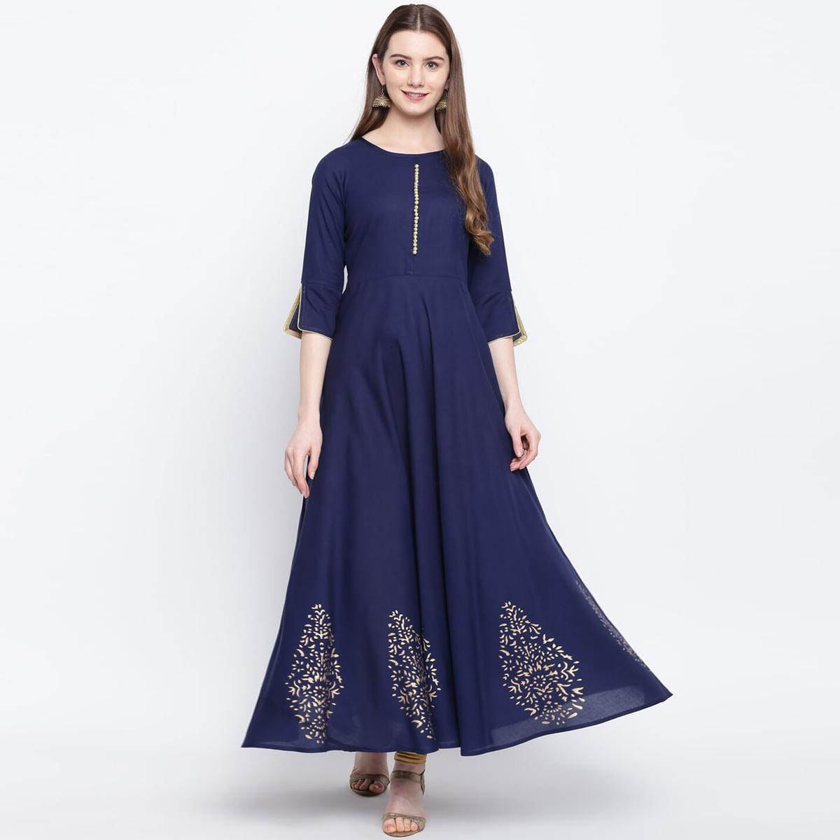 Intricate Navy Blue Colored Party Wear Printed Rayon Long Kurti