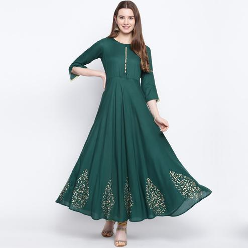 Arresting Green Colored Party Wear Printed Rayon Long Kurti