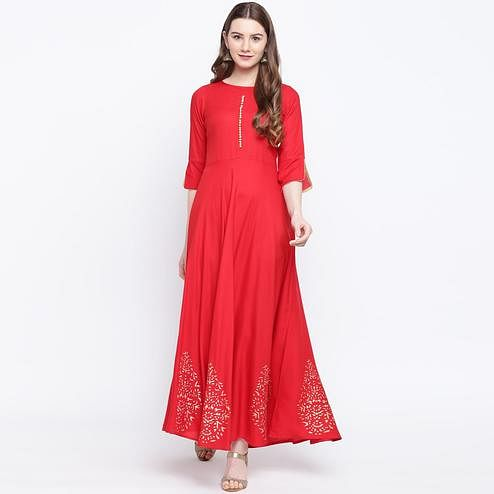 Exotic Red Colored Party Wear Printed Rayon Long Kurti