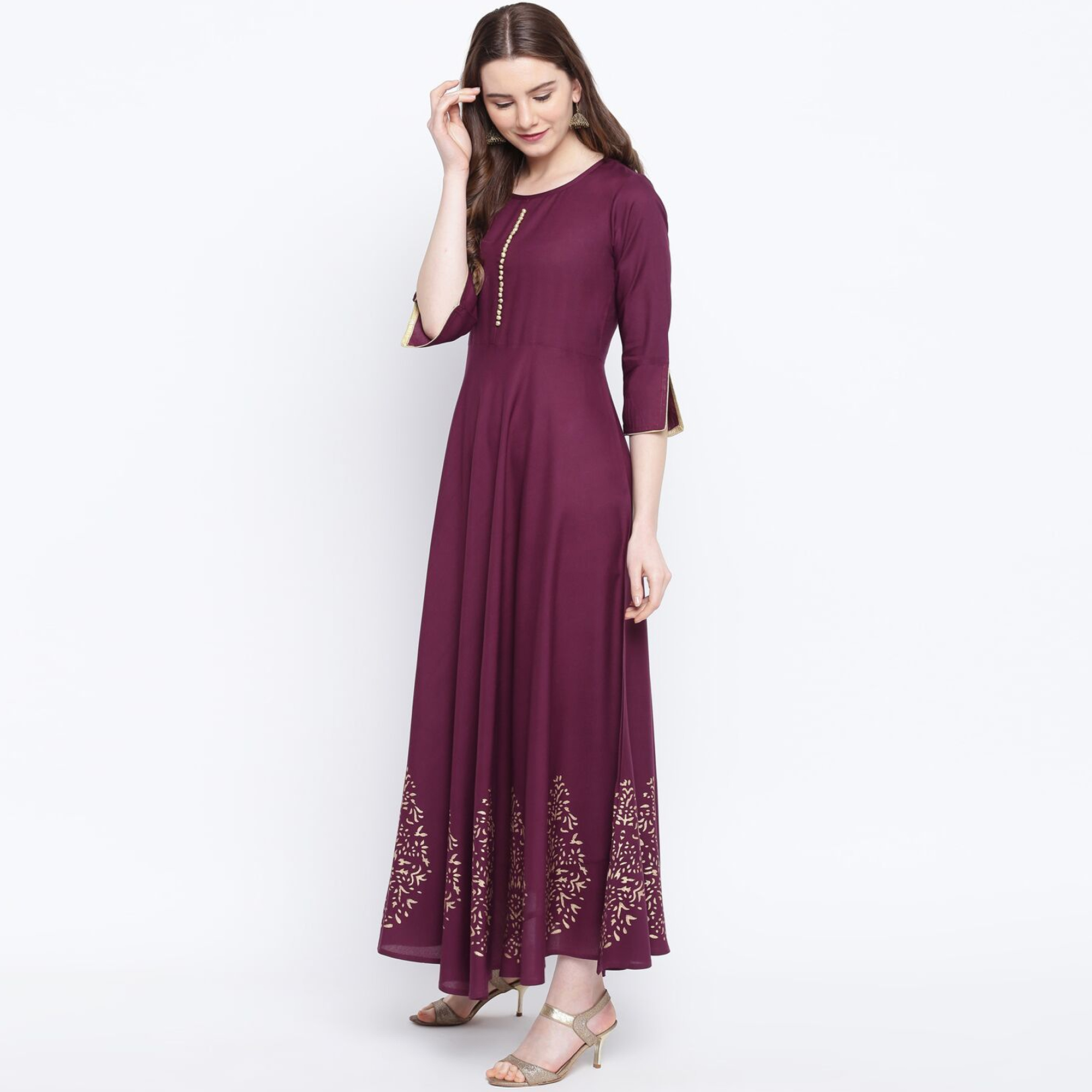 Trendy Wine Colored Party Wear Printed Rayon Long Kurti