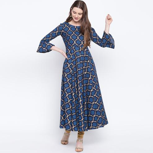 Elegant Navy Blue Colored Party Wear Printed Cotton Long Kurti