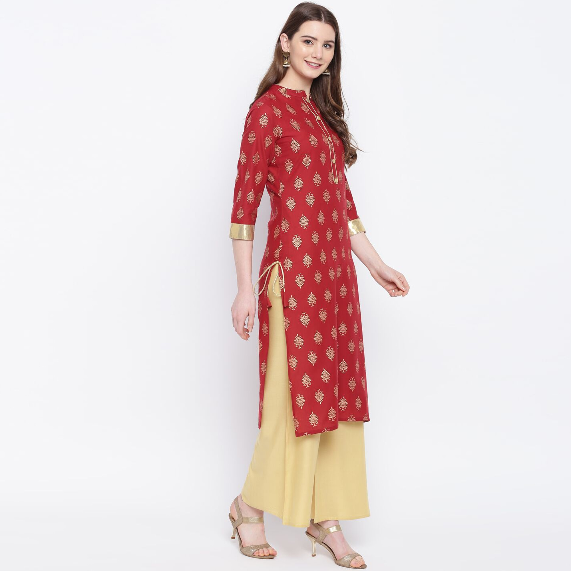 Blissful Maroon Colored Party Wear Printed Cotton Kurti-Palazzo Set