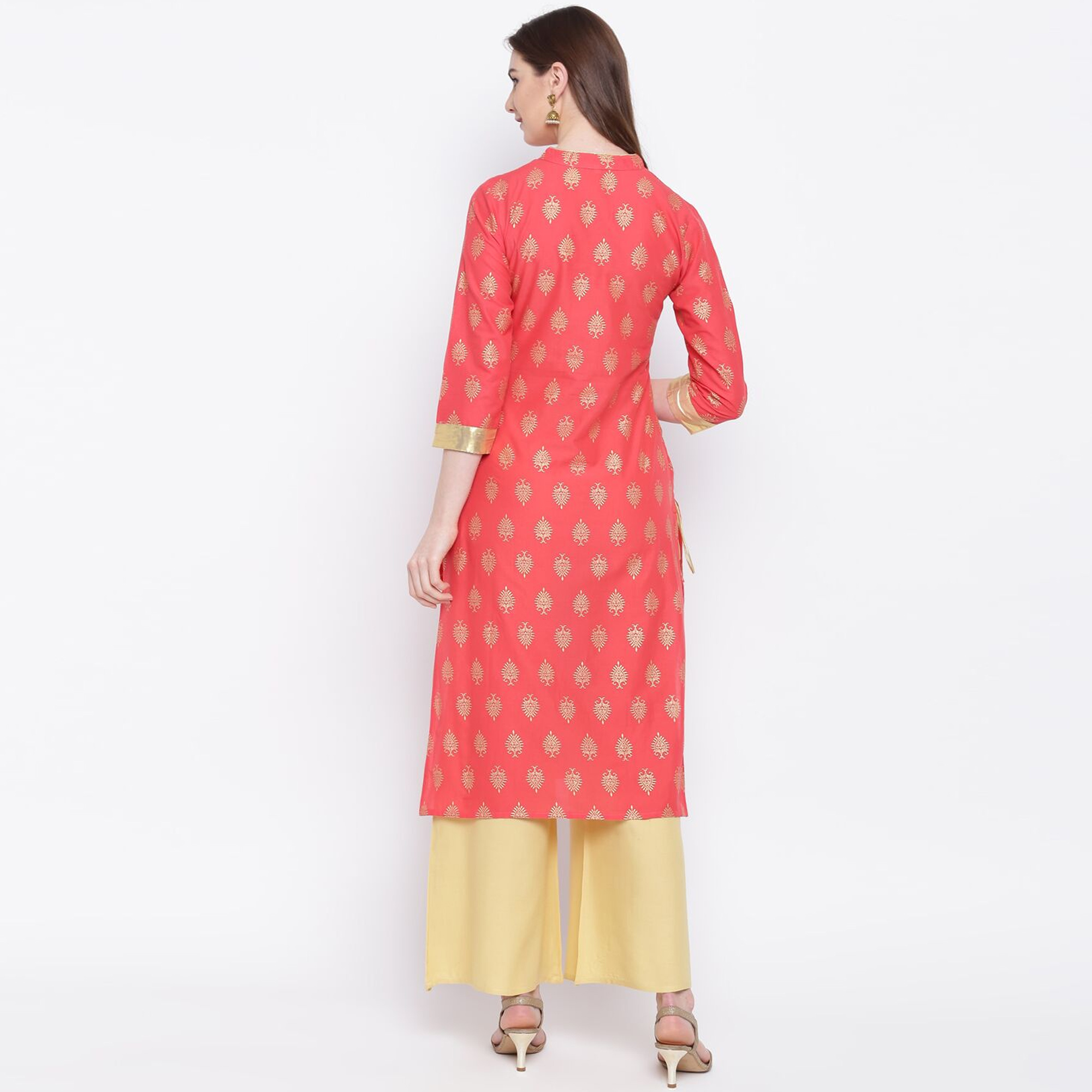 Ideal Peach Colored Party Wear Printed Cotton Kurti-Palazzo Set