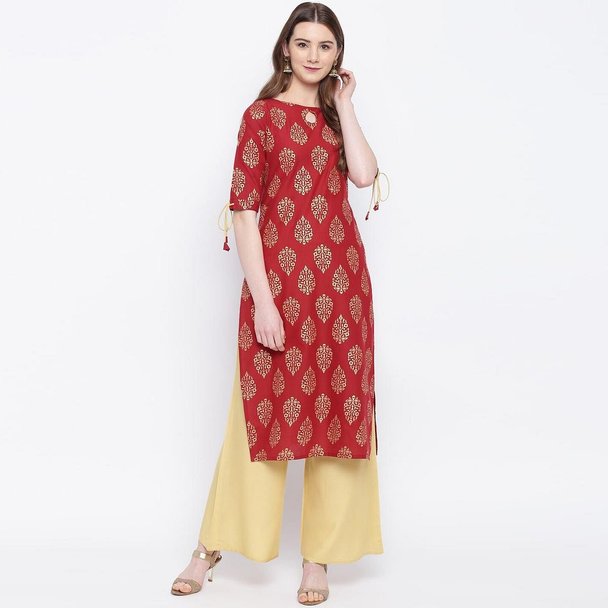 Lovely Maroon Colored Party Wear Printed Rayon Kurti-Palazzo Set