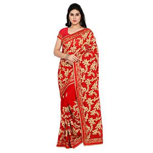 Red Floral Embroidered Work Saree