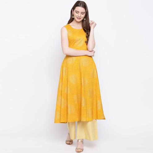 Exclusive Mustard Colored Party Wear Printed Cotton Kurti-Palazzo Set