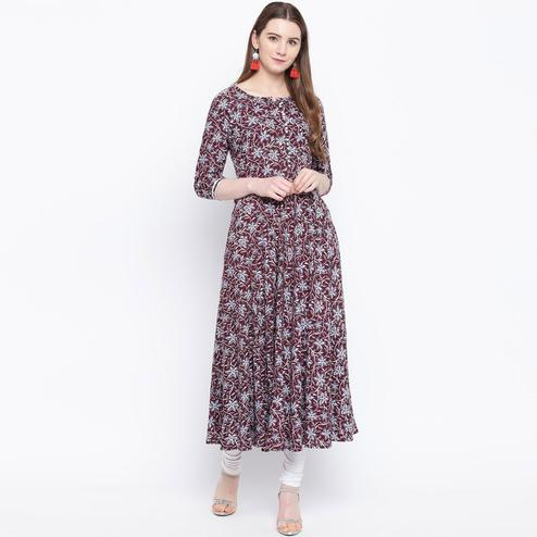 Adorable Maroon Colored Casual Wear Printed Rayon Long Kurti