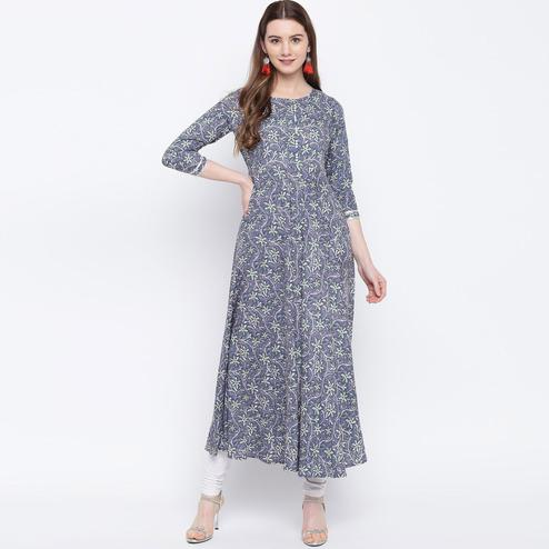 Attractive Blue Colored Casual Wear Printed Rayon Long Kurti