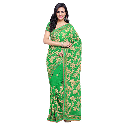 Green Festive Wear Embroidered Saree