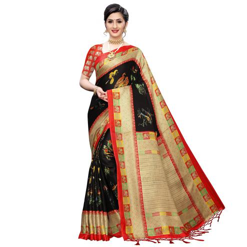 Arresting Black Colored Festive Wear Printed Cotton Saree With Tassels