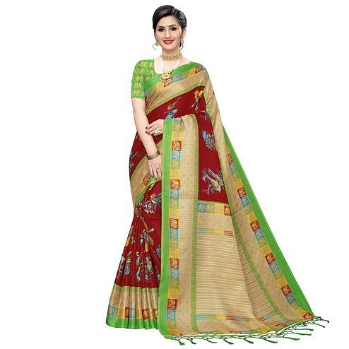 Desirable Maroon Colored Festive Wear Printed Cotton Saree With Tassels