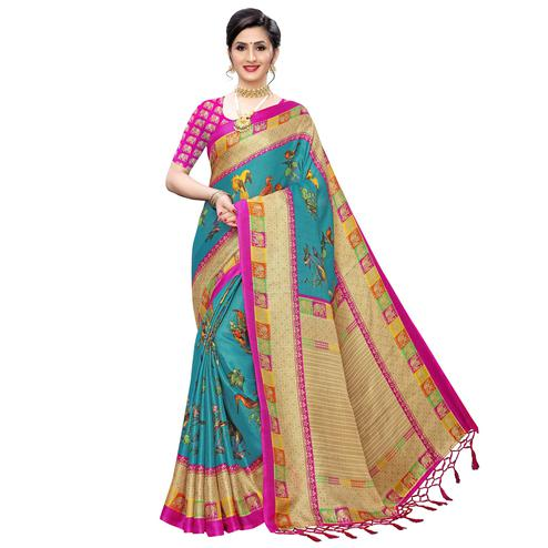 Exotic Blue Colored Festive Wear Printed Cotton Saree With Tassels