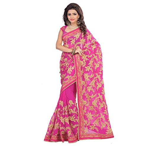 Pink Party Wear Georgette Saree