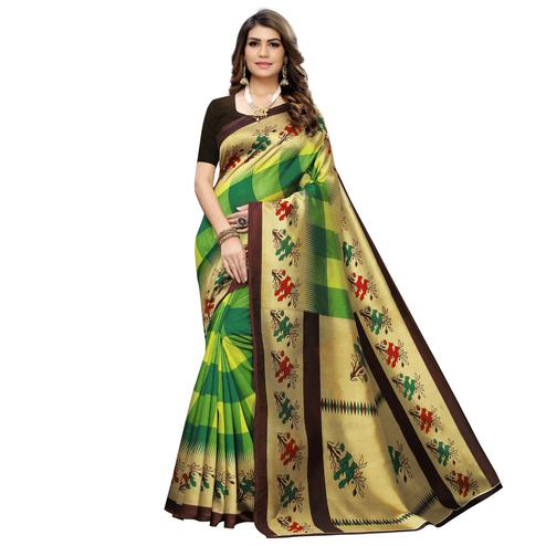Graceful Green Colored Casual Wear Printed Art Silk Saree
