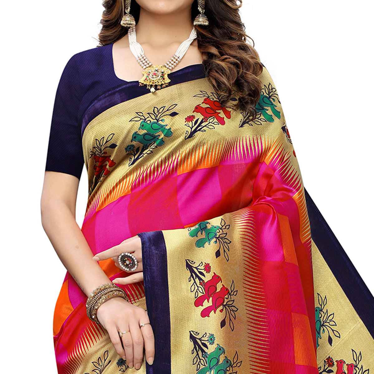 Charming Pink Colored Casual Wear Printed Art Silk Saree
