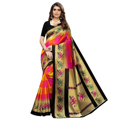 Jazzy Pink-Orange Colored Casual Wear Printed Art Silk Saree