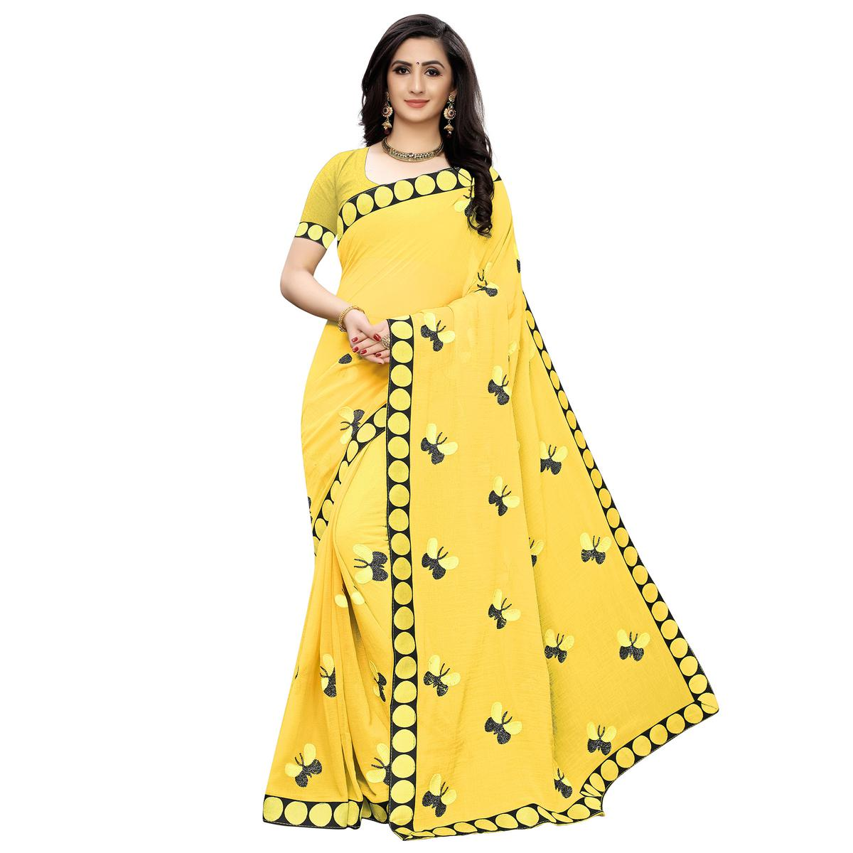 Attractive Yellow Colored Party Wear Embroidered Georgette Saree