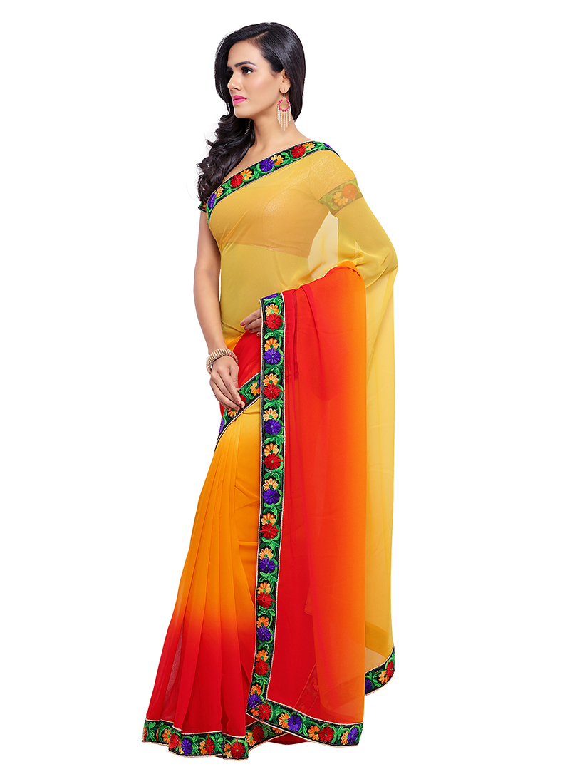 Shaded Yellow - Red Border Work Saree