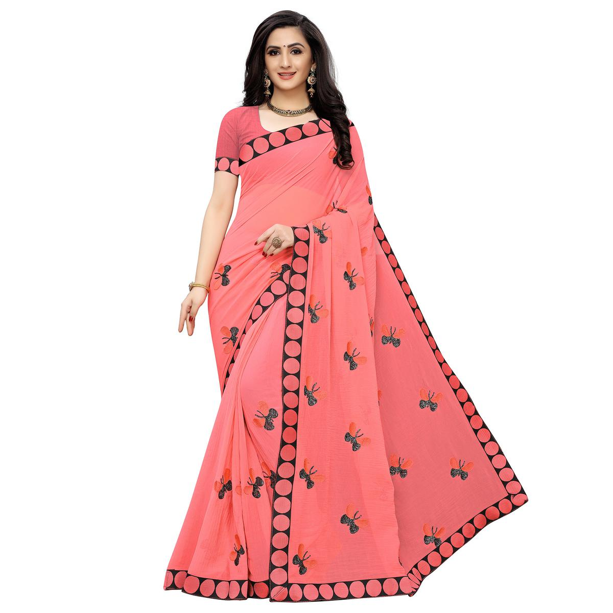 Blooming Peach Colored Party Wear Embroidered Georgette Saree