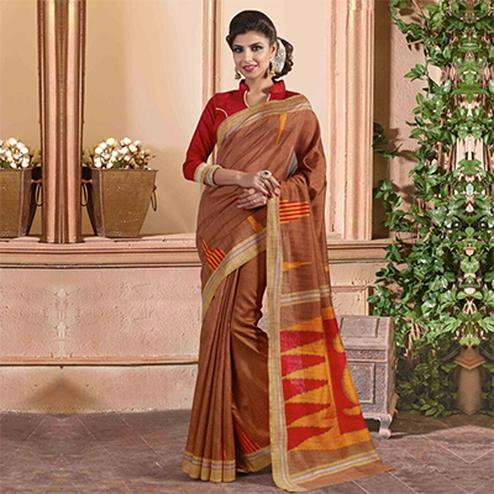 Brown Casual Wear Saree