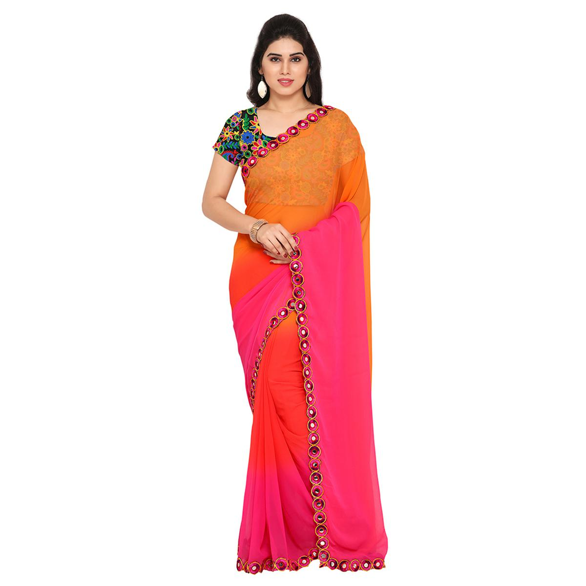 Shaded Orange - Pink Georgette Saree