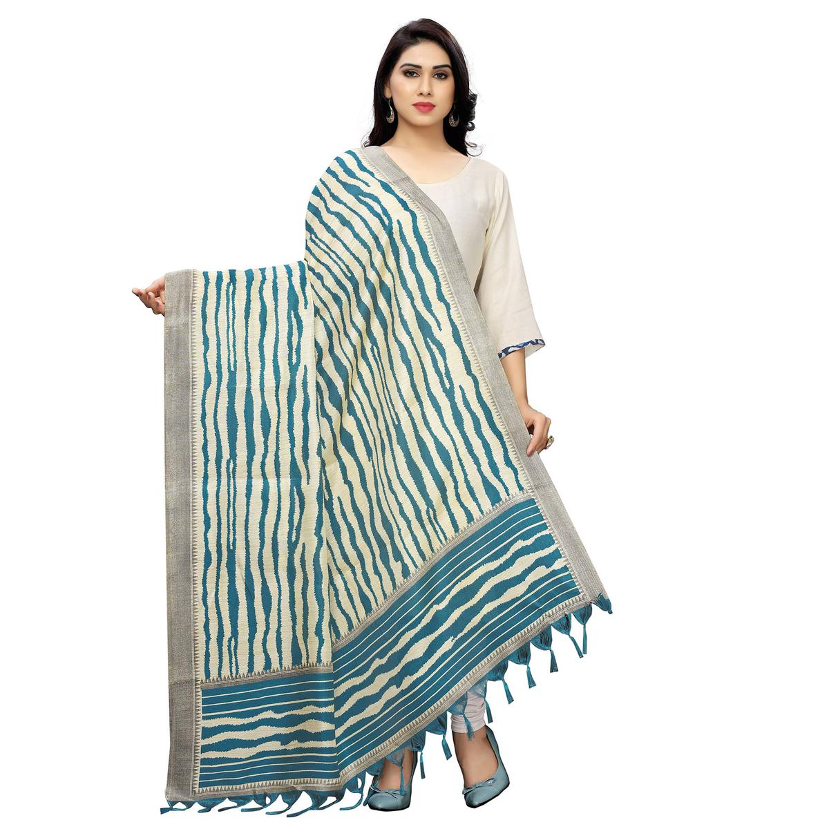 Gorgeous Rama Blue Colored Festive Wear Printed Cotton Dupatta With Tassels