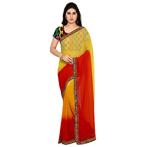 Yellow - Red Lace Border Work Saree