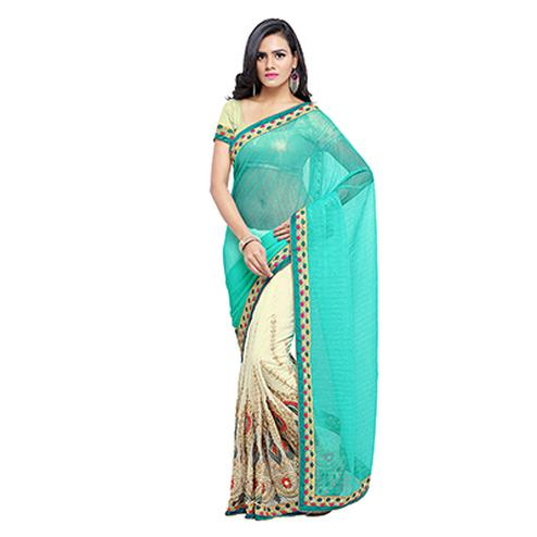 Cream - Blue Half & Half Saree
