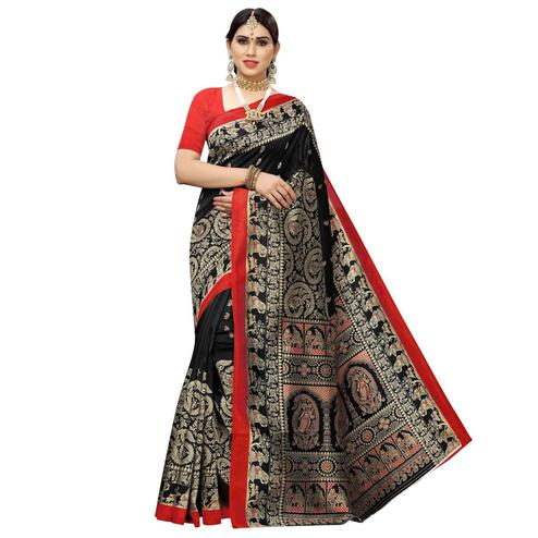 Innovative Black Colored Casual Printed Art Silk Saree
