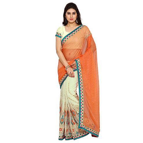Cream - Orange Embroidered Half Saree