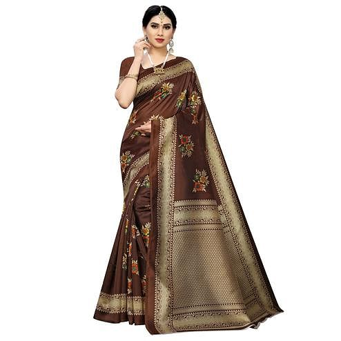 Ideal Brown Colored Casual Printed Art Silk Saree