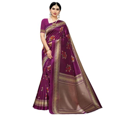 Imposing Purple Colored Casual Printed Art Silk Saree